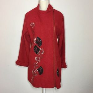 Carson Wool Coat with Artistic Embroidered Design